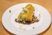 Chef Stacey Givens, Sideyard Farm and Micaela Colley, Organic Seed Alliance with Given's corn stuffed pepper.
