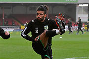Oscar Gobern (20) of Yeovil Town warming up before the EFL Sky Bet League 2 match between Swindon Town and Yeovil Town at the County Ground, Swindon, England on 10 April 2018. Picture by Graham Hunt.