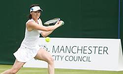 MANCHESTER, ENGLAND: Martina Hingis (SUI) during Day one of the Manchester Masters Tennis Tournament at the Northern Tennis Club. (Pic by David Tickle/Propaganda)