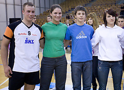 Best players Jaka Slak Riosa, Ana Skarlovnik, Jernej Vrhunc and Larisa Pirih at SKL finals volleyball match and cup and medal ceremony, on April 22, 2009, in Hall Tivoli, Ljubljana, Slovenia. (Photo by Vid Ponikvar / Sportida)