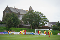 LLANELLI, WALES - Saturday, September 15, 2012: Llanelli take on Newtown during the Welsh Premier League match at Stebonheath Park with St Alban's Church in the background. (Pic by David Rawcliffe/Propaganda)