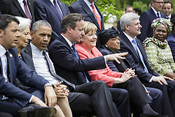 June 8, 2015 - Garmisch Partenkirchen, Germany - World leaders sit together during an extended group photo on the second day of the G7 Summit meeting at the Schloss Elmau June 8, 2015 near Garmisch-Partenkirchen, Germany. Seated (L to R) are: Italian Prime Minister Matteo Renzi, US President Barack Obama, MF President Christine Lagarde, British Prime Minister David Cameron, German Chancellor Angela Merkel, Ellen Johnson Sirleaf and Canadian Prime Minister Stephen Harper and African Union Commission Chairperson Nkosazana Dlamini Zuma. (Credit Image: © Guido Bergmann/Planet Pix via ZUMA Wire)