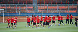 JAKARTA, INDONESIA - Wednesday, July 17, 2013: Liverpool players take a walk around the Gelora Bung Karno Stadium ahead of their game against Indonesia as part of their Preseason Tour. (Pic by David Rawcliffe/Propaganda)