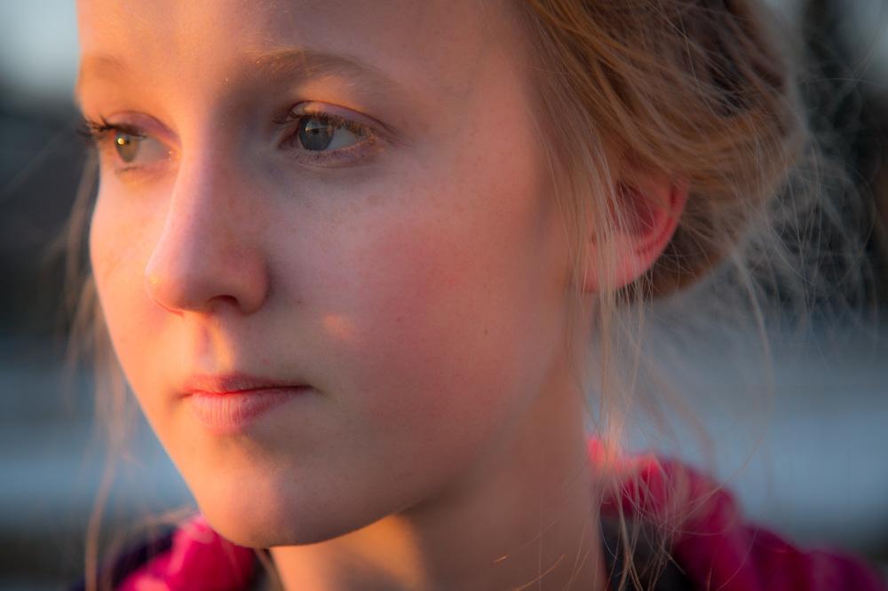 West High sophmore photo student, JoJo Fleischman, at Westchester Lagoon, Anchorage
