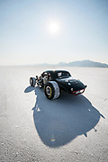 Image of a black hot rod racecar at Speed Week 2018 at the Bonneville Salt Flats, Utah, American Southwest