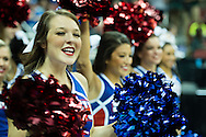 19 MAR 2015: Southern Methodist University cheerleaders hype up the crowd as they take on the University of California Los Angeles during the 2015 NCAA Men's Basketball Tournament held at the KFC Yum! Center in Louisville, KY. UCLA defeated SMU 60-59. Brett Wilhelm/NCAA Photos