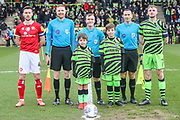 Mascots and captains during the EFL Sky Bet League 2 match between Forest Green Rovers and Walsall at the New Lawn, Forest Green, United Kingdom on 8 February 2020.