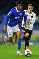 Football - 2020 / 2021 EFL Cup - Round Two - Brighton & Hove Albion vs Portsmouth<br /> <br /> Brighton & Hove Albion's Bernardo holds off the challenge from Portsmouth's Ryan Williams, at the Amex Stadium.<br /> <br /> COLORSPORT/ASHLEY WESTERN