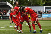Jobi McAnuff of Leyton Orient (7) scores a goal and celebrates with his team mates to make the score 0-2 during the Vanarama National League match between Harrogate Town and Leyton Orient at Wetherby Road, Harrogate, United Kingdom on 22 September 2018.