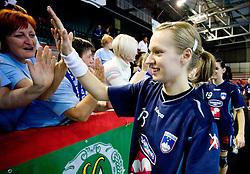 Nusa Skutnik of Slovenia after the Women European Championships Qualifying handball match between National Teams of Slovenia and Belarus, on October 17, 2009, in Kodeljevo, Ljubljana.  (Photo by Vid Ponikvar / Sportida)