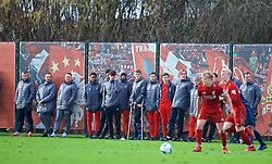KIRKBY, ENGLAND - Saturday, January 26, 2019: Liverpool's Nico Williams and academy team-mates look on from the touch-line during the FA Premier League match between Liverpool FC and Manchester United FC at The Academy. (Pic by David Rawcliffe/Propaganda)