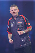 Nathan Aspinall hits a double and wins the second set during the PDC William Hill World Darts Championship Semi-Final at Alexandra Palace, London, United Kingdom on 30 December 2019.