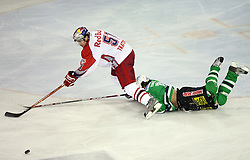 Matthias Trattnig of Salzburg and Brendan Yarema of Olimpija at sixth game of the Final of EBEL league (Erste Bank Eishockey Liga) between ZM Olimpija vs EC Red Bull Salzburg,  on March 25, 2008 in Arena Tivoli, Ljubljana, Slovenia. Red Bull Salzburg won the game 3:2 and series 4:2 and became the Champions of EBEL league 2007/2008.  (Photo by Vid Ponikvar / Sportal Images)..
