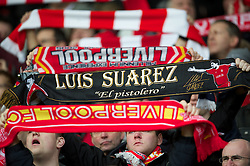 LIVERPOOL, ENGLAND - Saturday, January 28, 2012: Liverpool supporters on the Spion Kop during the FA Cup 4th Round match against Manchester United at Anfield. (Pic by David Rawcliffe/Propaganda)