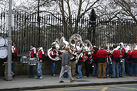 Marching band practice for St Patricks Day outside Trinity College Nassau Street Dublin Ireland