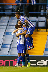 Atdhe Nuhiu of Sheffield Wednesday celebrates scoring a goal to make it 1-0 - Photo mandatory by-line: Rogan Thomson/JMP - 07966 386802 - 30/09/2014 - SPORT - FOOTBALL - Sheffield, England - Hillsborough Stadium - Sheffield Wednesday v Ipswich Town - Sky Bet Championship.