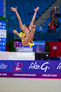 Salos Anastasiia during qualifying at clubs in Pesaro World Cup at Adriatic Arena on April 13, 2018. Anastasiia born on February 18 ,2002 in Barnaul. She is a rhythmic gymnast member of the Belarusian National Team.