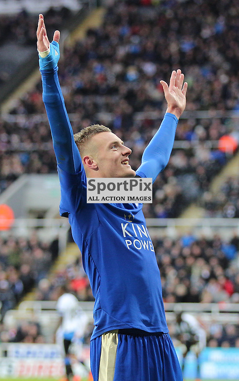 Newcastle United v Leicester City English Premiership 21 November 2015; Jamie Vardy (Leicester City, 9) scores and equals the record during the Newcastle v Leicester City English Premiership match played at St. James' Park, Newcastle; <br /> <br /> &copy; Chris McCluskie | SportPix.org.uk
