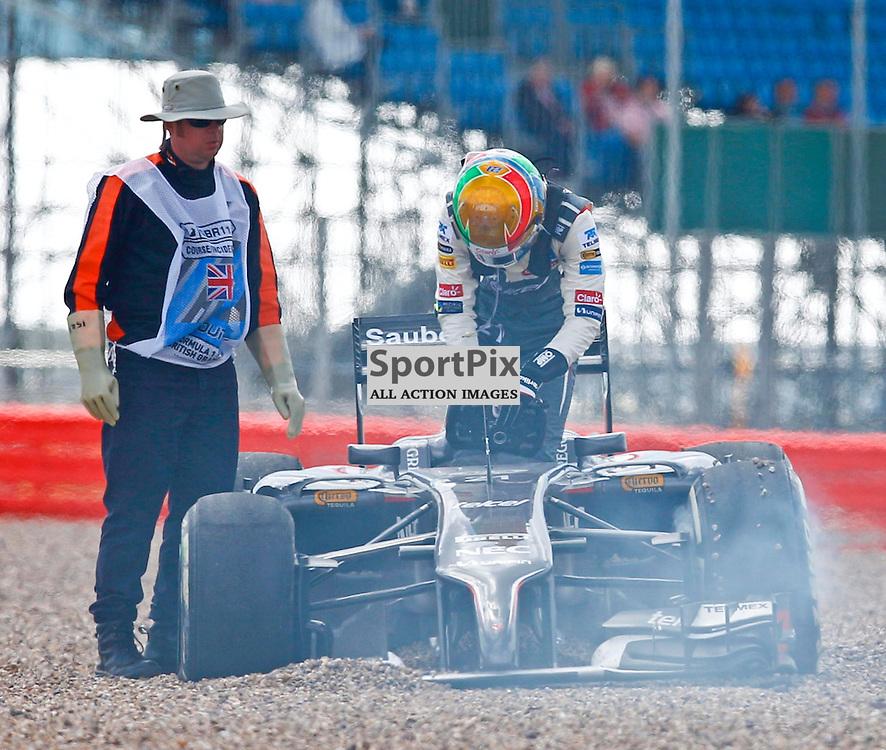 FORMULA 1 SANTANDER BRITISH GRAND PRIX ...Esteban Gutierrez crashes out of the race...(c) STEPHEN LAWSON | SportPix.org.uk