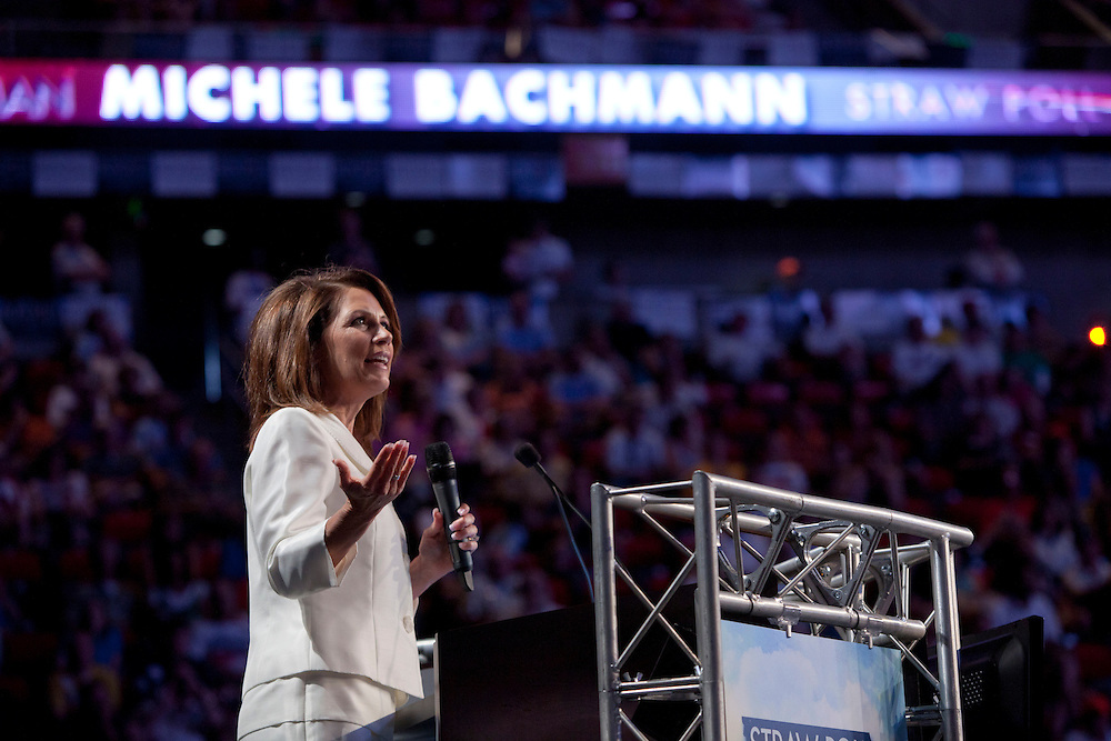 Republican presidential hopeful Michele Bachmann speaks at the Iowa Republican Straw Poll on Saturday, August 13, 2011 in Ames, IA.