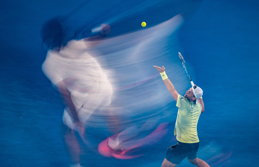 Roger Federer of Switzerland and Tomas Berdych of the Czech Republic on day ten of the 2018 Australian Open in Melbourne Australia on Wednesday January 24, 2018.<br /> (Ben Solomon/Tennis Australia)