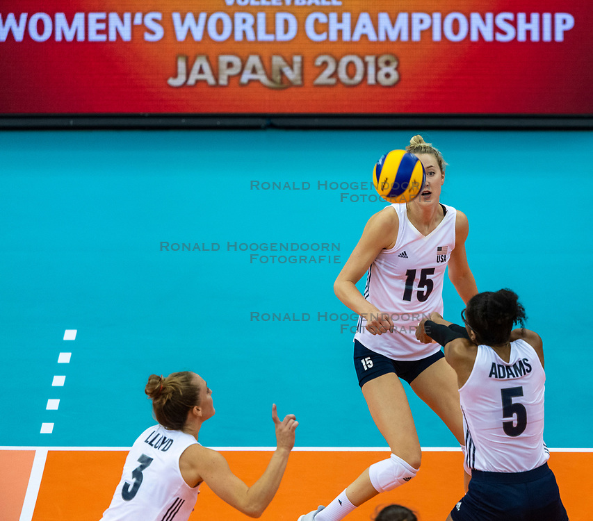 14-10-2018 JPN: World Championship Volleyball Women day 15, Nagoya<br /> China - United States of America 3-2 / Kimberly Hill #15 of USA, Rachael Adams #5 of USA