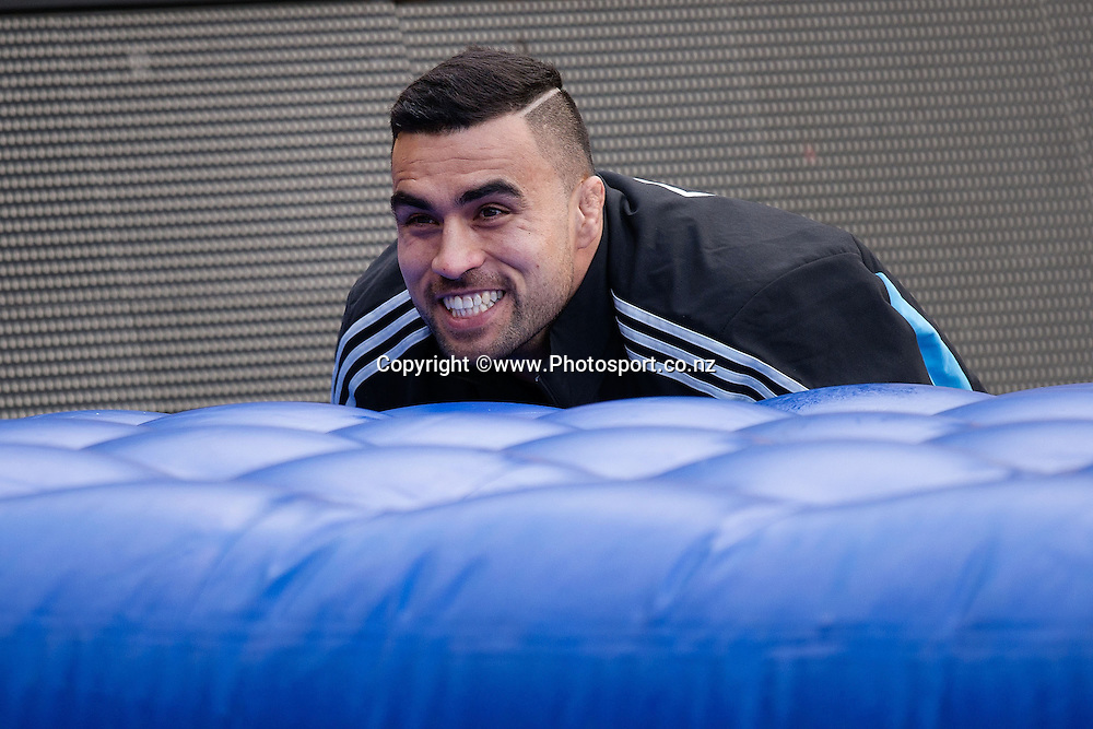Liam Messam of the All Blacks watches training during a All Blacks Training session at the Westpac Stadium in Wellington on Thursday the 11th of September 2014. Photo by Marty Melville/www.Photosport.co.nz