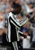 Photo. Andrew Unwin.<br /> Newcastle United v Chelsea, FA Barclaycard Premier League, St James Park, Newcastle upon Tyne 25/04/2004.<br /> Newcastle's Shola Ameobi celebrates levelling the score before half-time.