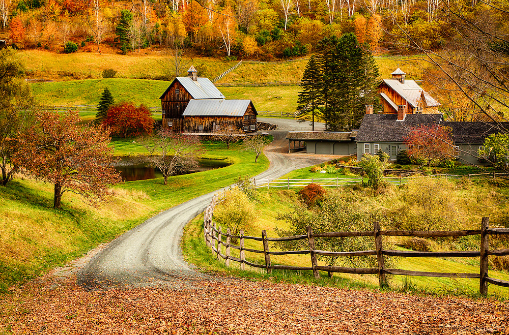 Sleepy Hollow farm in Central Vermont. Cloudland Road, Pomfret, VT.