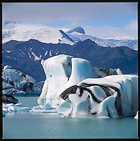 Icebergs on the Glacier Lagoon Jökulsárlón on Breiðamerkursandur east of Skaftafell. Ísjakar á Jökulsárlóni.<br />