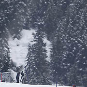 Winter Olympics, Vancouver, 2010.Andre Myhrer, Sweden, winning the Bronze Medal in  the Alpine Skiing, Men's Slalom at Whistler Creekside, Whistler, during the Vancouver Winter Olympics. 27th February 2010. Photo Tim Clayton