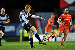 Rhys Patchell (Blues) kicks for territory - Photo mandatory by-line: Patrick Khachfe/JMP - Mobile: 07966 386802 29/08/2014 - SPORT - RUGBY UNION - Leicester - Welford Road - Leicester Tigers v Cardiff Blues - Pre-Season Friendly