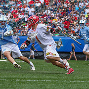 North Carolina Defenseman AUSTIN PIFANI (17) defends  University of Maryland Attackman MATT RAMBO (1) during the second half of The NCAA Division I NATIONAL CHAMPIONSHIP GAME between North Carolina and Maryland, Monday, May. 30, 2016 at Lincoln Financial Field in Philadelphia, Pa