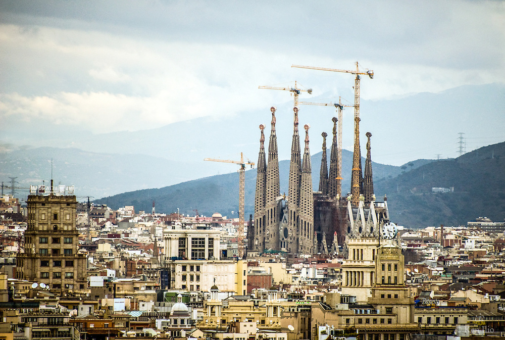 Sagrada Familia Towering Over Barcelona
