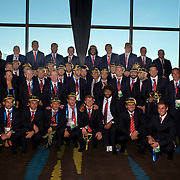 The Georgia Rugby Team team at the official Civic welcome and cap presentation at Skyline.  Queenstown, New Zealand, 6th September 2011. Photo Tim Clayton..