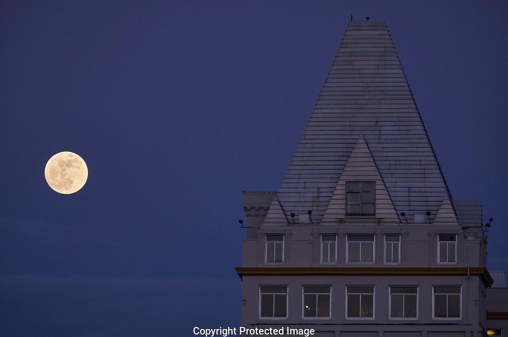 Moonrise over Tacoma, Wash., Tuesday, Jan. 30, 2018. (Photo/John Froschauer)