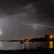 Lighting over Portsmouth Naval Shipyard from New Castle, NH