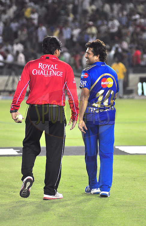 Mumbai Indians with umpire  after match during match 33 of the the Indian Premier League ( IPL) 2012  between The Kings X1 Punjab and The Mumbai Indians held at the Punjab Cricket Association Stadium, Mohali on the 25th April 2012..Photo by Arjun Panwar/IPL/SPORTZPICS