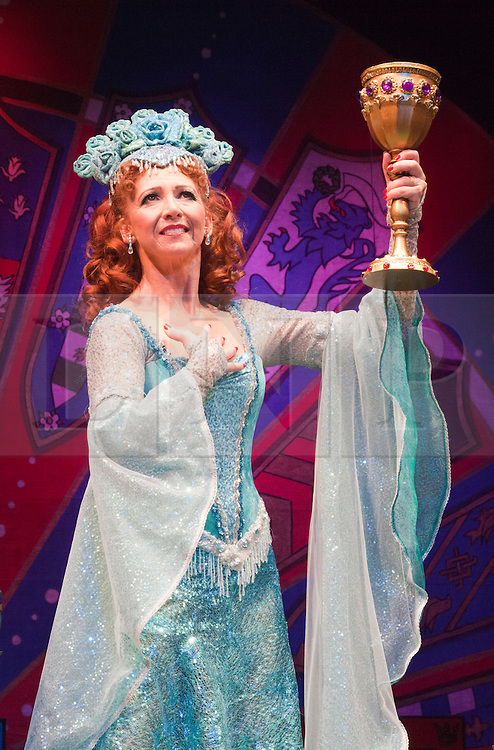 """© Licensed to London News Pictures. 26/07/2012. London, England. Bonnie Langford as """"The Lady of the Lake. Monty Python's """"Spamalot"""" musical based on the film """"Monty Python and the Holy Grail"""" opens at the Harold Pinter Theatre in London. The role of King Arthur is shared between Jon Culshaw and Marcus Brigstocke. Photo credit: Bettina Strenske/LNP"""