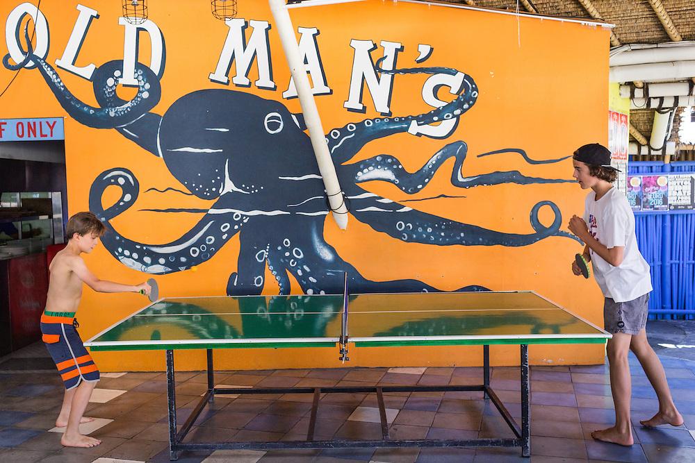 Patrons play Ping-Pong at Old Man's.