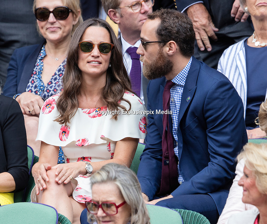 WIMBLEDON - UK - 27th June 2016: The Wimbledon Tennis Championships start at the All England Lawn Tennis Club, Wimbledon. S.E. London.<br /> <br /> Pic shows.;  Novak Djokovic (Serbia) plays James Ward (GB) watched by Pippa Middleton ( sister of Kate Middleton - HRH Duchess of Cambridge) with her brother James Middleton.<br /> &copy;Exclusivepix Media