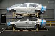 Mlada Boleslav/Tschechische Republik, Tschechien, CZE, 19.03.07: Für den Export in Folie verpackte Skoda Octavia Karosserien auf dem Werksgelände der Skoda Auto Fabrik in Mlada Boleslav. Der tschechische Autohersteller Skoda ist ein Tochterunternehmen der Volkswagen Gruppe.<br /> <br /> Mlada Boleslav/Czech Republic, CZE, 19.03.07: Skoda Octavia car body-frames wrapped in plastic and prepared for export from Skoda car factory in Mlada Boleslav. Czech car producer Skoda Auto is subsidiary of the German Volkswagen Group (VAG).