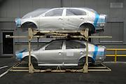 Mlada Boleslav/Tschechische Republik, Tschechien, CZE, 19.03.07: F&uuml;r den Export in Folie verpackte Skoda Octavia Karosserien auf dem Werksgel&auml;nde der Skoda Auto Fabrik in Mlada Boleslav. Der tschechische Autohersteller Skoda ist ein Tochterunternehmen der Volkswagen Gruppe.<br /> <br /> Mlada Boleslav/Czech Republic, CZE, 19.03.07: Skoda Octavia car body-frames wrapped in plastic and prepared for export from Skoda car factory in Mlada Boleslav. Czech car producer Skoda Auto is subsidiary of the German Volkswagen Group (VAG).