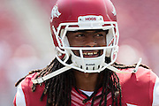 FAYETTEVILLE, AR - SEPTEMBER 5:  Keon Hatcher #4 of the Arkansas Razorbacks warms up before a game against the UTEP Miners at Razorback Stadium on September 5, 2015 in Fayetteville, Arkansas.  The Razorbacks defeated the Miners 48-13.  (Photo by Wesley Hitt/Getty Images) *** Local Caption *** Keon Hatcher