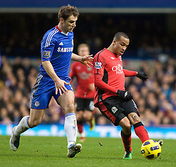 15.01.2011, Stamford Bridge, London, ENG, PL, Chelsea vs Blackburn Rovers Blackburn Rover's Martin Olsson clears from Chelsea's Branislav Ivanovic, English Premier League, Stamford Bridge, Chelsea v Blackburn Rovers, 15/01/2011. Picture by Mark Greenwood, EXPA Pictures © 2010, PhotoCredit: EXPA/ IPS/ M. Greenwood *** ATTENTION *** UK AND FRANCE OUT!