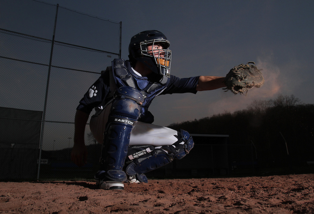 Briarcliff senior catcher Colin Orr is photographed after practice at Briarcliff High School on March 22, 2012. ( Xavier Mascareñas / The Journal News )