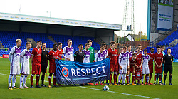 BIRKENHEAD, ENGLAND - Wednesday, November 1, 2017: Liverpool and NK Maribor players with a UEFA Respect flag before the UEFA Youth League Group E match between Liverpool and NK Maribor at Prenton Park. (Pic by David Rawcliffe/Propaganda)