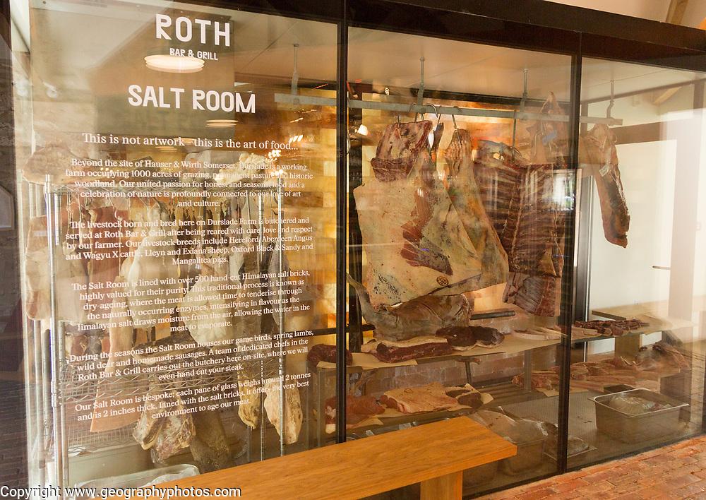 Hauser and Wirth art gallery, restaurant and garden, Durslade Farm, Bruton, Somerset, England, UK Roth salt room meat store