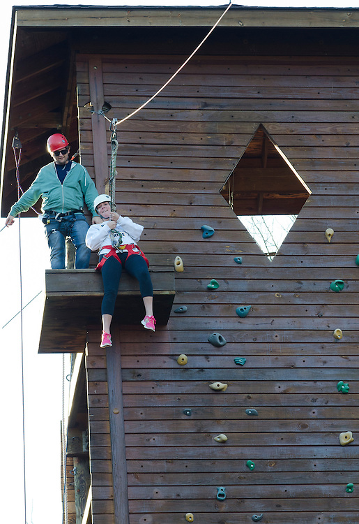 Addie Keyerleber uses the zipline. Keyerleber came to the zipline with her father as a part of Ohio University's Dad's Weekend.
