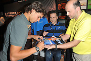19.MAY.2011. PARIS<br /> <br /> TENNIS PLAYER RAFAEL NADAL PRESENTS NEW NIKE SHIRTS, IN CHAMPS ELYSEES STORE, PARIS.<br /> <br /> BYLINE: EDBIMAGEARCHIVE.COM<br /> <br /> *THIS IMAGE IS STRICTLY FOR UK NEWSPAPERS AND MAGAZINES ONLY*<br /> *FOR WORLD WIDE SALES AND WEB USE PLEASE CONTACT EDBIMAGEARCHIVE - 0208 954 5968*